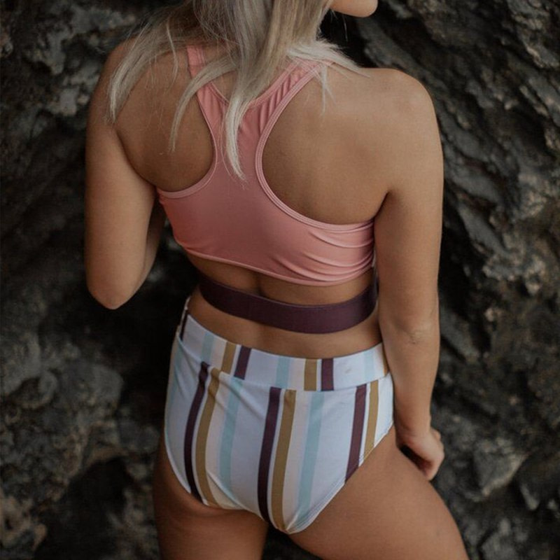 2019 High Neck 2 Piece Crop Top, Women's Striped Bathing Suit 15