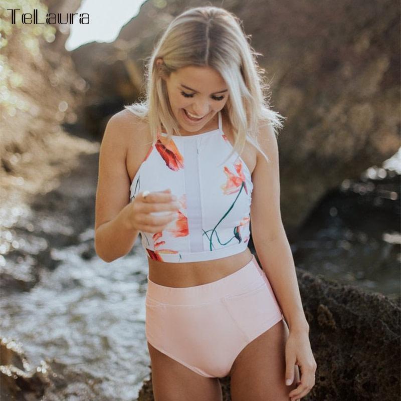 New 2 Piece, High Waist, Bikini Swimwear, Women's Push Up Biquini Bathing Suit, High Neck Women's Summer Beach Wear 3
