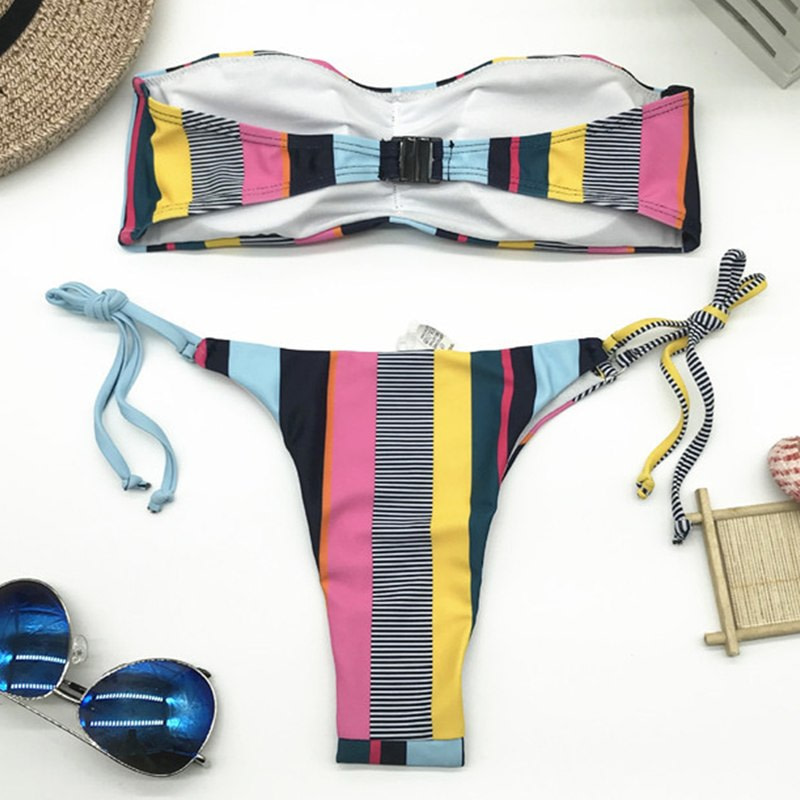 Bandeau Bikini, 2019 Striped, Strapless, Push Up Swimwear, Women's Tie Side Bathing Suit 23