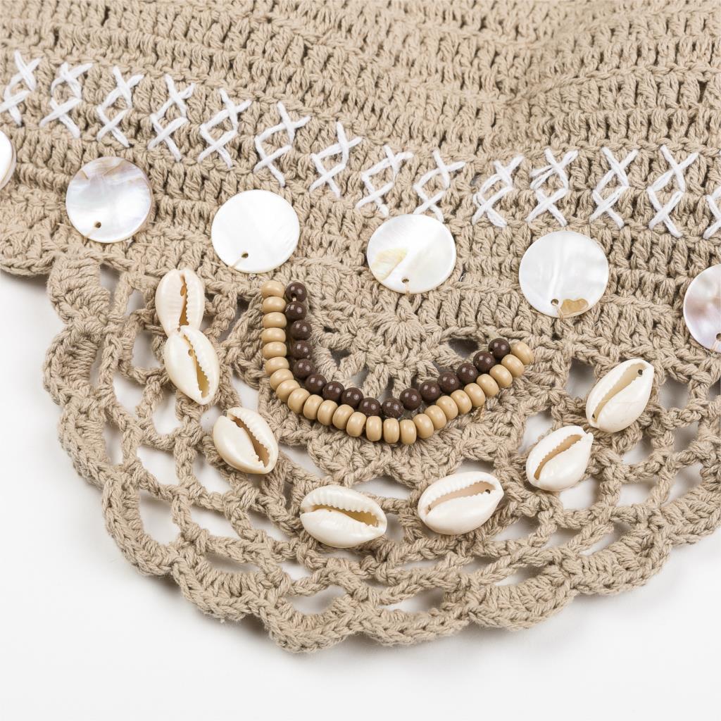 Handmade Crochet Bikinis, 2019 Sexy Tassel Swimsuit,Women's Shell Decorated Swimwear, High Neck 2 Piece Suit 24