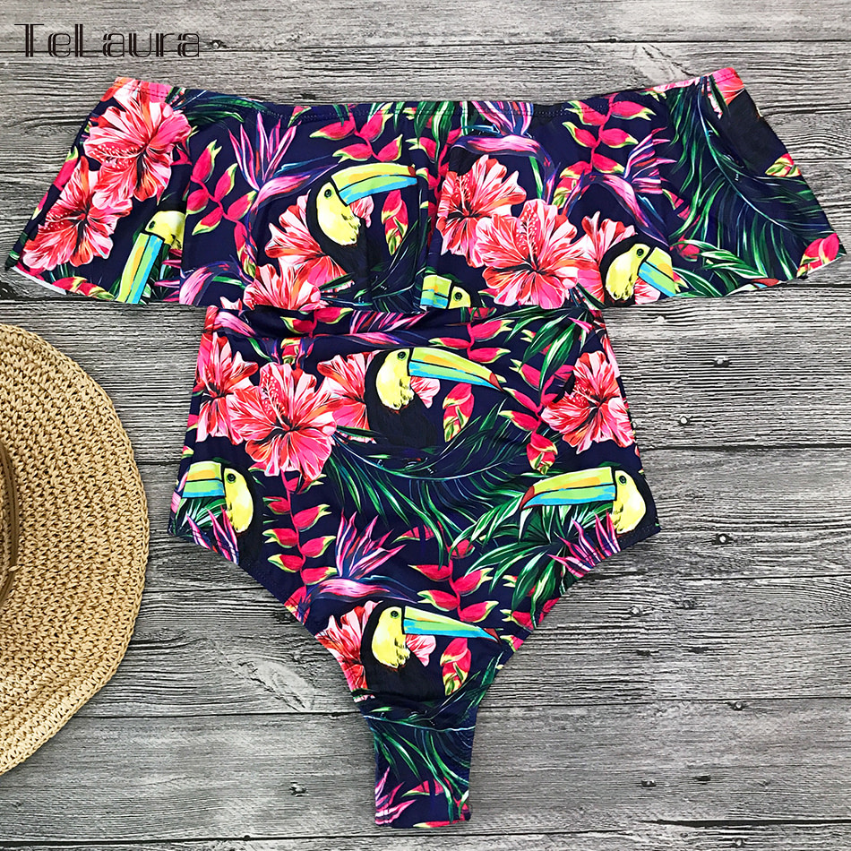 2019 Sexy Ruffle One Piece Swimsuit, Women's Monokini Off Shoulder Swim Suit 24
