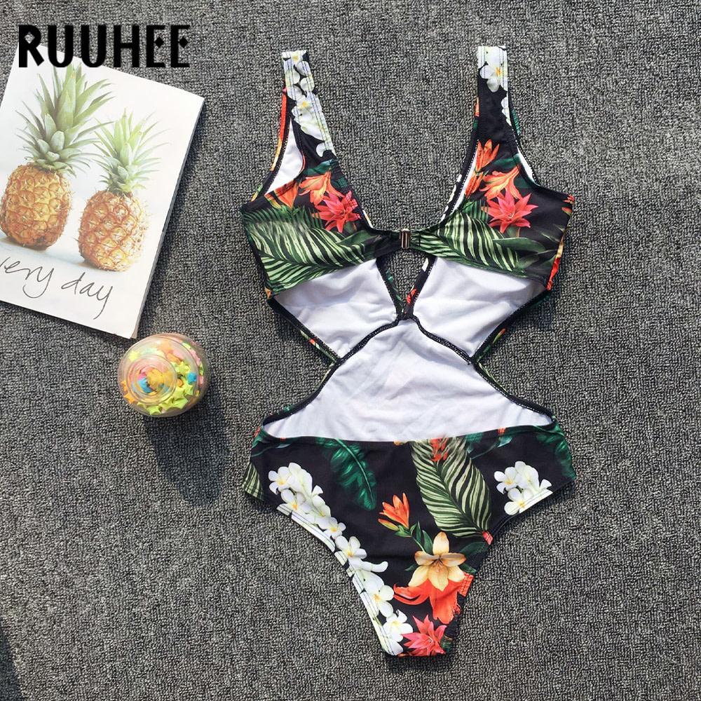 Sexy One Piece, Women's Swimwear, V-neck Bodysuit, 2019 Bathing Suit, Printed Female Beach Wear Biquini Monokini 7