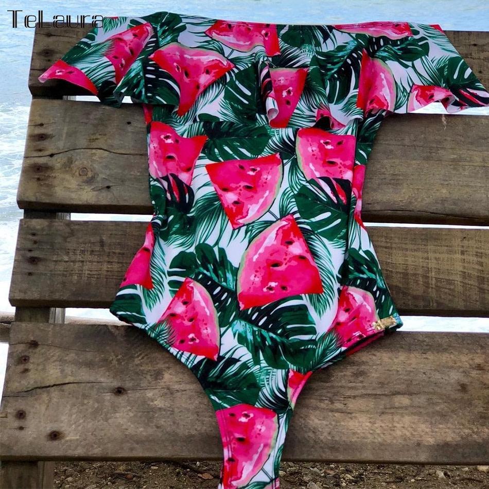 2019 Sexy Ruffle One Piece Swimsuit, Women's Monokini Off Shoulder Swim Suit 14
