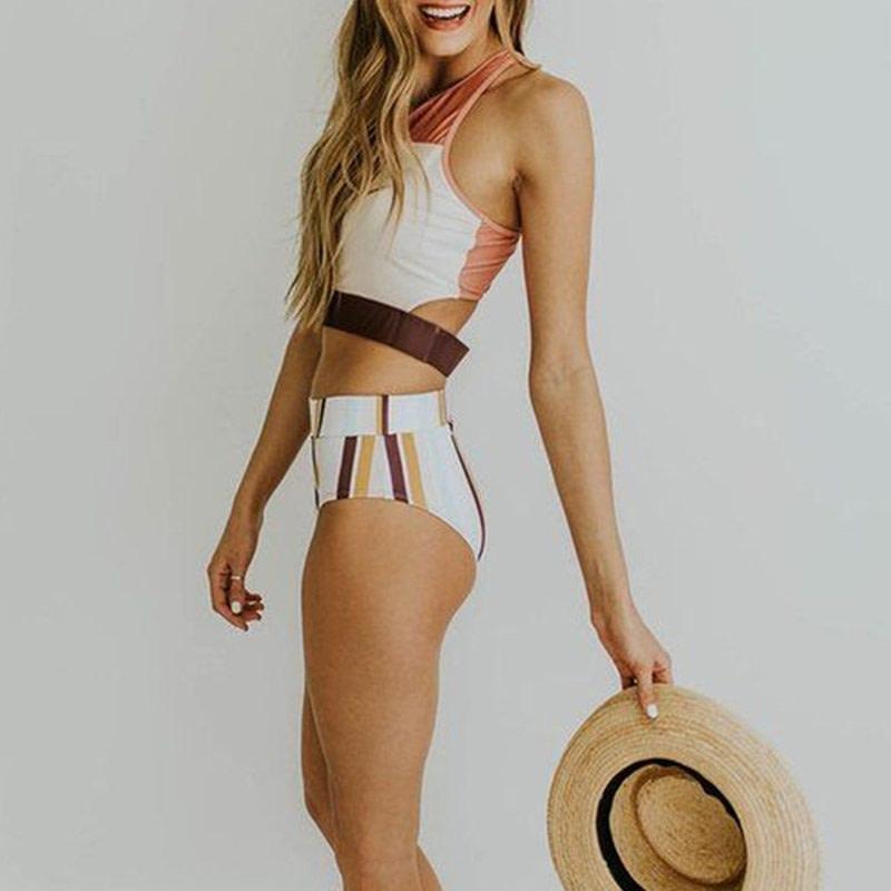 2019 High Neck 2 Piece Crop Top, Women's Striped Bathing Suit 22