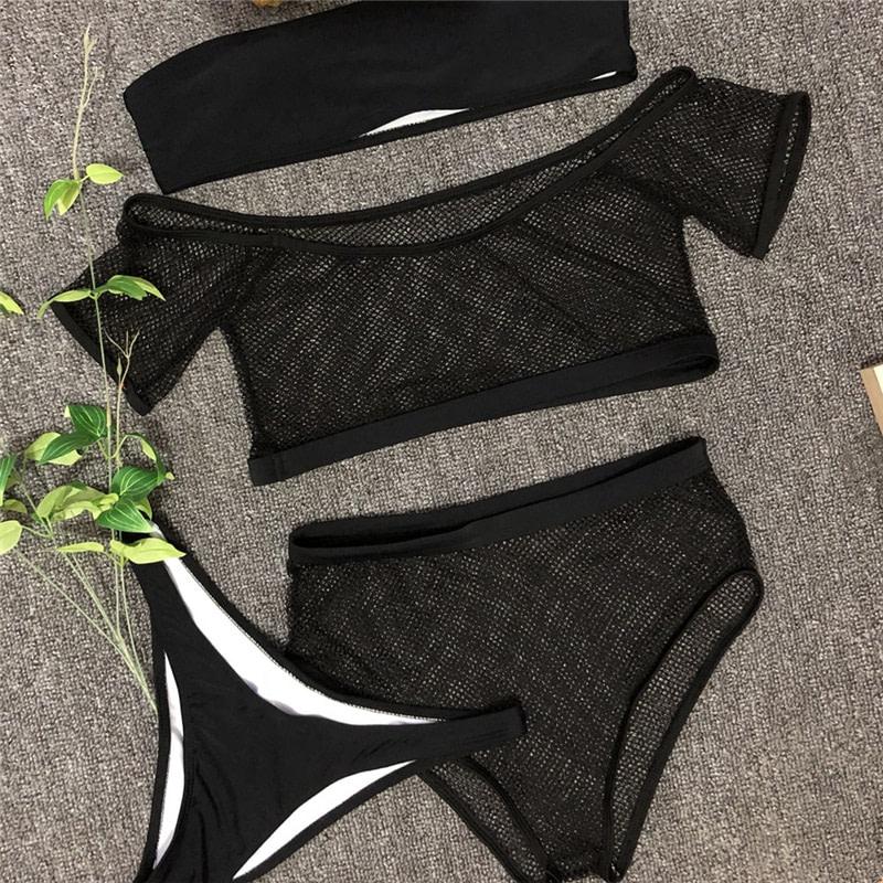 New 2019 Mesh High Waist Bikini, Off Shoulder Swimsuit, Female Push Up Sexy Bathing Suit, Bandeau Bikini Set 33