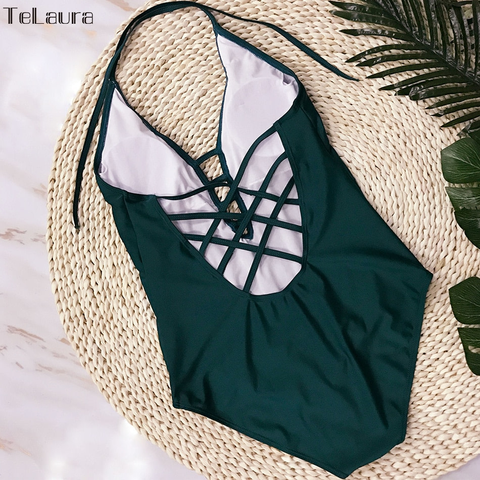 One Piece Swimsuit, Women's Bandage Vintage Beach Wear, Solid Bathing Suit, Monokini Retro Swimsuit 36