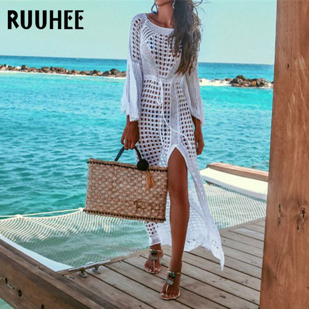 Lace Cover-Up, Women's Swimsuit Knitted, Summer Crochet See-through Hollow Beach Dress Tunic 1