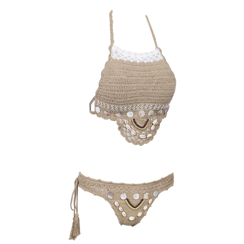 Handmade Crochet Bikinis, 2019 Sexy Tassel Swimsuit,Women's Shell Decorated Swimwear, High Neck 2 Piece Suit 21